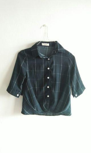 Dark green 3/4 sleeves checkered collar shirt button shirt working shirt top blouse #GayaRaya