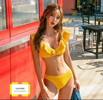 現貨♥可愛復古薑黃荷葉修身深V比基尼bikini