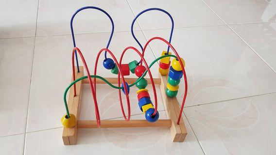 IKEA MULA wooden bead roller coaster toy for baby kid