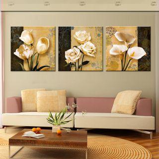 In stock -3pcs elegant florals canvas painting