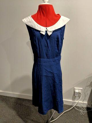 Nautical navy and white sailor dress - Asian size S (approx AU XS) #swapau