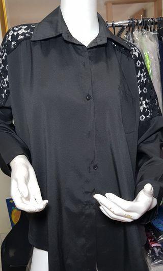 Black Shoulder lace trimmed blouse