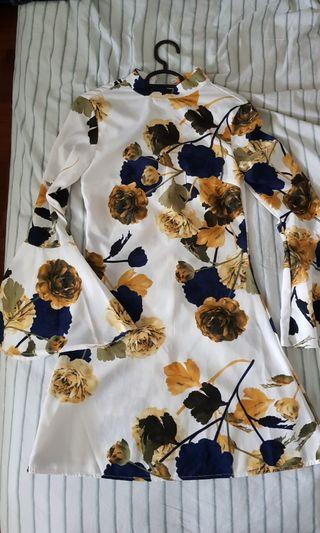 Missguided white flare sleeve floral dress