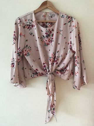 Crop top pink floral