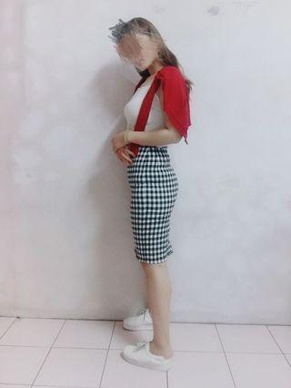 🚚 OL小姐姐格紋直筒及膝裙