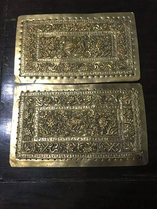 1900s Peranakan Brass Gold Gild Pillow Ends with Qilin (麒麟)