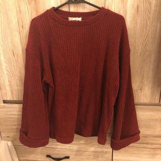 🚚 50%寬袖酒紅色針織毛衣上衣  #半價衣服拍賣會