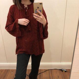 🚚 酒紅色鏤空雕花寬袖針織毛衣上衣 特殊剪裁 #半價衣服拍賣會