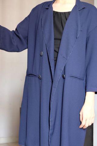 Oversized Chiffon Coat (Blue)
