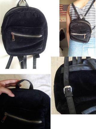 Stradivarius Velvet Black Bag / Backpack