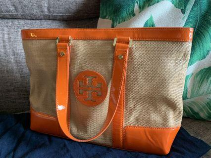🚚 Tory Burch Straw Saddle Jane Tote Bag