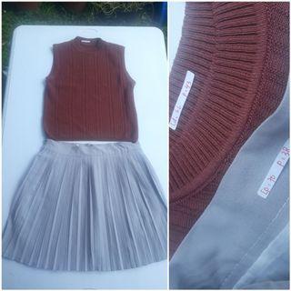 Rok plisket + atasan knit