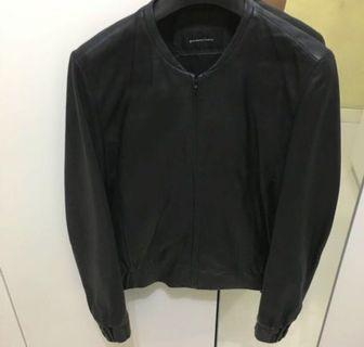 Giordano ladies black leather jacket 黑色皮褸 外套