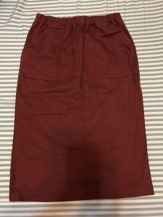 東京著衣 鬆緊後開衩直筒裙 長裙 橘紅色