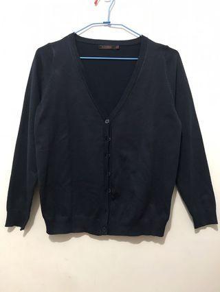 🚚 丈青色 深藍色長袖針織罩衫 防曬外套