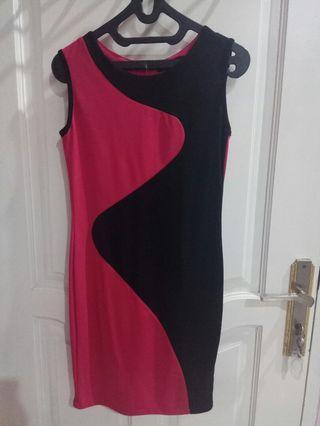 Dress MIU pink hitam