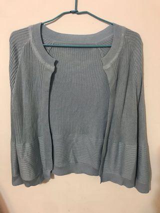 🚚 長袖直紋針織罩衫 防曬外套