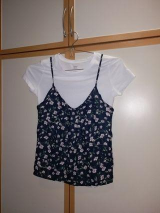 90% new old navy white shirt w/ floral crop top