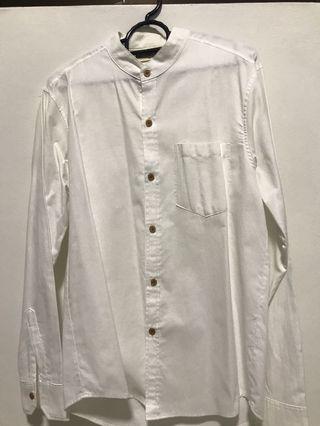 🚚 white mandarin collar shirt