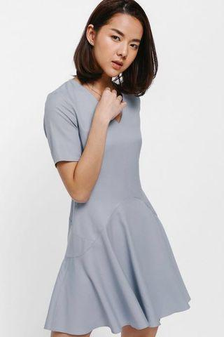 Love Bonito Basicca Flounce Dress in Dusty Blue