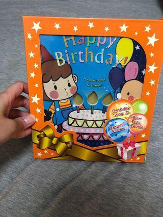 生日(英文)丶睡前(中文)吹蠟燭丶音樂燈光書 全新紙盒連密封膠袋包裝 每本$20