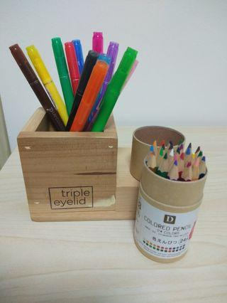 Pen and planter organizer with pens