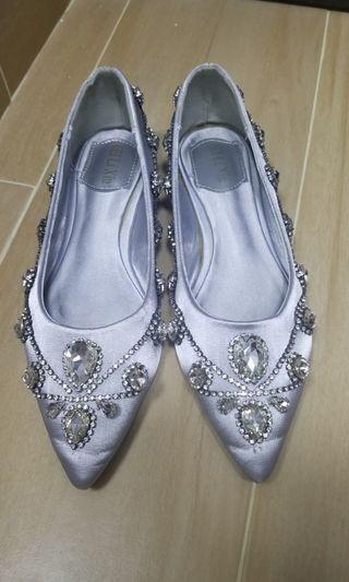 銀色閃石鞋