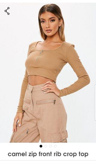 BNWT Missguided Crop Top Camel Nude