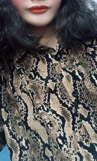 Vii&co 歐美 豹紋雪紡襯衫