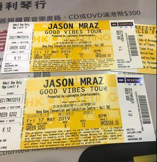 JASON MRAZ GOOD VIBES TOUR 2019 $588門票兩張