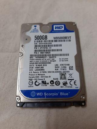 WD2.5隨身硬碟(500G裸裝無外接盒)僅售300元
