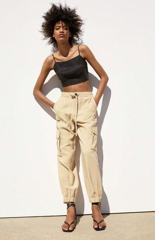 ZARA CARGO TROUSERS WITH POCKETS IN SAND