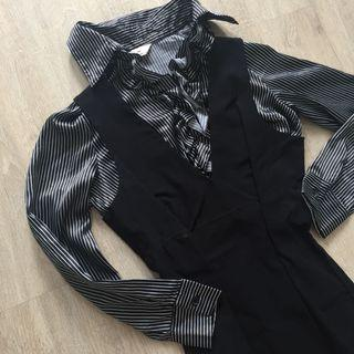 Satin ruffle stripes formal shirt blouse