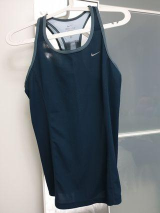 NIKE racer back sport Top woman exercise wear, size M, grey blue, dry fit.