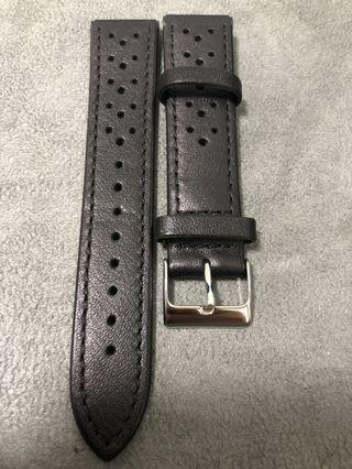 20mm Black Leather Racing Straps