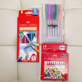 Smiggle / Faber-Castell - Scented Gel Inkball Pens/Junior Triangular Colour Pencils with Sharpener/Jumbo Wax Crayons