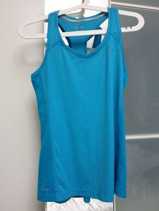 NIKE racerback sport dri fit woman exercise top, size M, blue