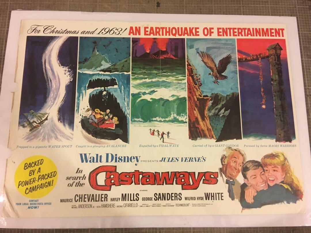 1962年電影🎬 in search of the castaways海報。大少約44.5x31吋,已經表起。