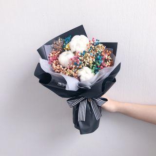 Dried Flower Bouquet | Graduation Flower Bouquet | Birthday Flower | Anniversary Gift | Cotton | Baby breath | Flower Delivery | 干花花束 | 棉花 满天星 |鲜花运送 |毕业花束
