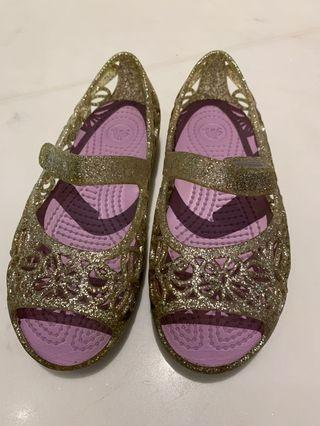 Crocs Silver Slippers Girls Size 11