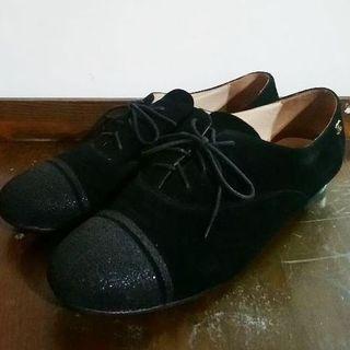精品店購黑色牛皮牛津鞋~37(適合38)
