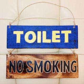 No Smoking / Toilet Wooden Board Retro Hand Painted Sign