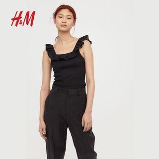 🚚 二手全新2019H&M女士女生女款夏季蝴蝶袖無袖上衣T恤
