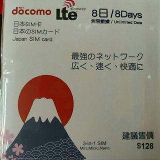 Japan data sim card 8days unlimited DoCoMo