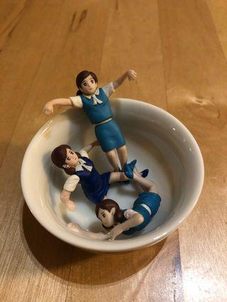 Miniature Japanese school girl figurine- set of 3