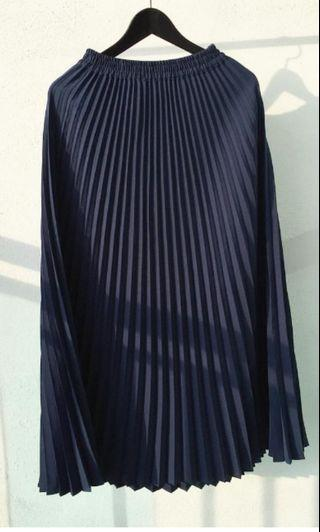 Pleated Skirt Navy Blue Free Size