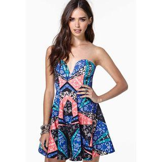 Nasty Gal Stained Glass Bustier Strapless Tube Dress