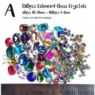 Sew-on K9 glass crystal / rhinestone / fancy stone / faceted gemstone in metal claw / prong setting with 4 holes for DIY / craft / handmade accessories / embellishment