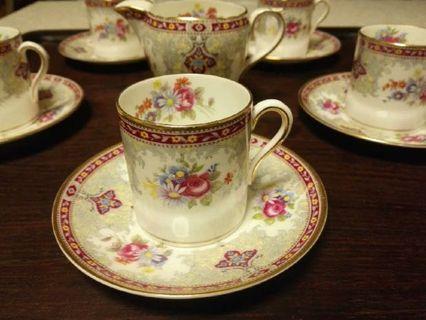 英國 Shelley 骨瓷小咖啡杯碟10件套連奶壺