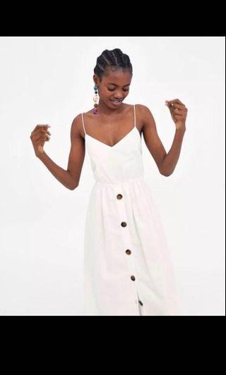 Zara white linen button down dress